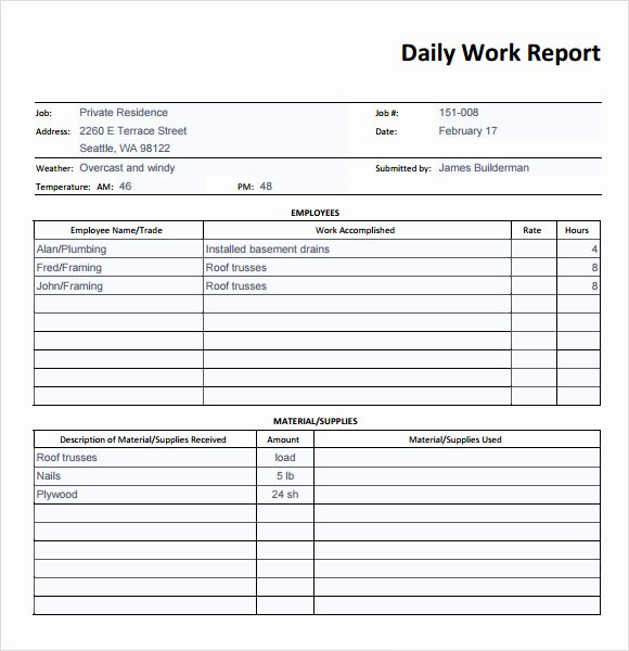 Daily Activity Report Template Inspirational 19 Sample Daily Reports