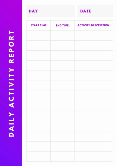 Daily Activity Report Template Inspirational Customize 97 Daily Report Templates Online Canva