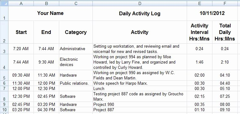 Daily Activity Report Template New Dave S Tech Docs Creating Daily Activity Logs Through Ms
