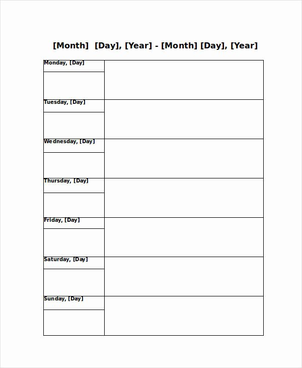 Daily Appointment Schedule Template Beautiful Blank Weekly Calendar 9 Free Pdf Word Documents