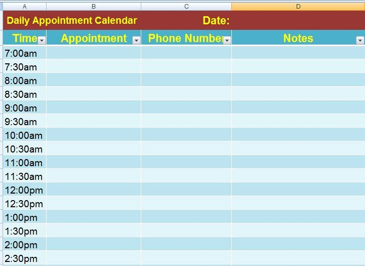 Daily Appointment Schedule Template Best Of Ms Excel Daily Appointment Calendar Template