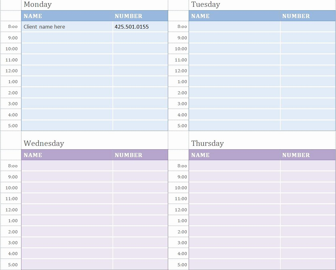 Daily Appointment Schedule Template Elegant Weekly Appointment Calendar