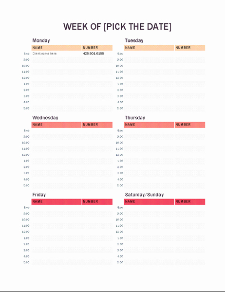 Daily Appointment Schedule Template Luxury Weekly Appointment Calendar