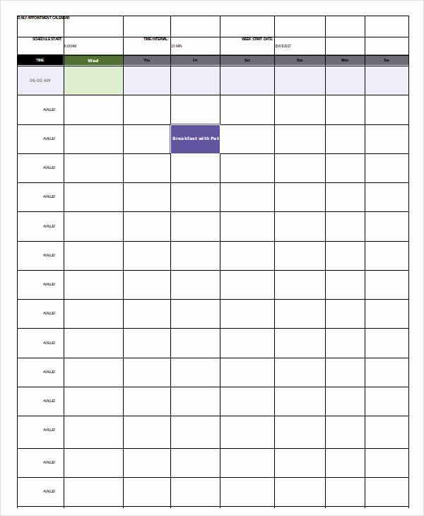 Daily Appointment Schedule Template Unique Daily Calendar Template 4 Free Word Pdf Documents