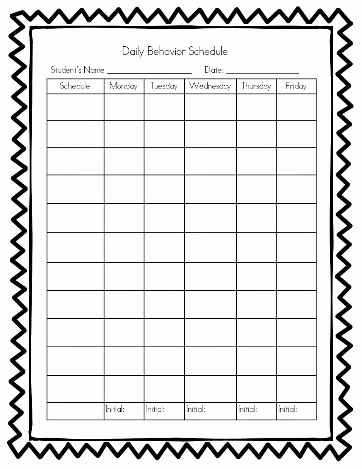 Daily Behavior Chart Template Awesome 7 Best Of Weekly Sticker Charts Printable Free