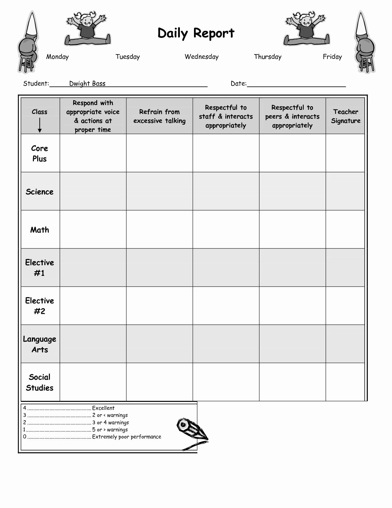 Daily Behavior Chart Template Elegant the Gallery for Daily Behavior Chart Middle School