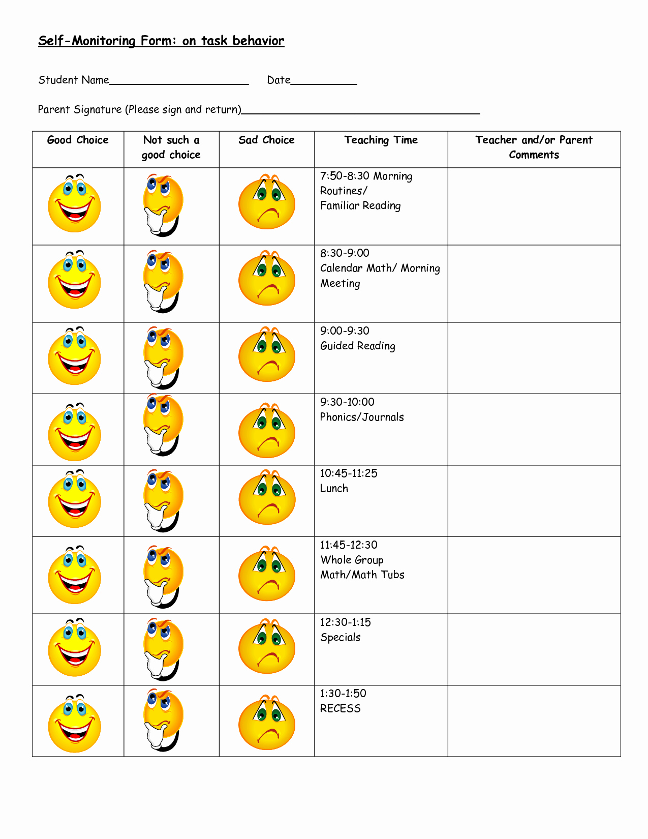 Daily Behavior Chart Template Fresh 7 Best Of Printable Behavior Charts for Students