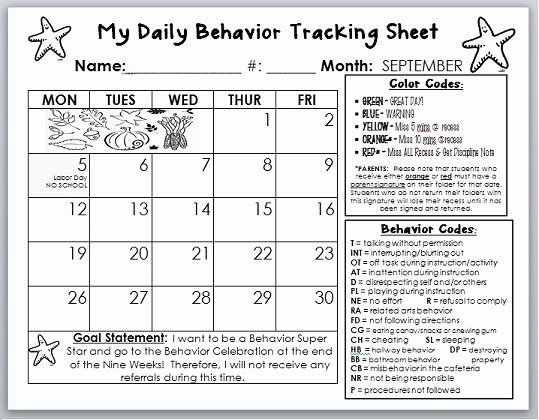 Daily Behavior Chart Template Inspirational 7 Best Of Behavior Calendar Printable Weekly