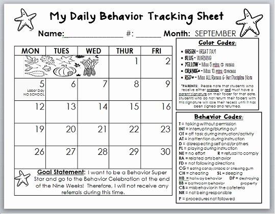 Daily Behavior Chart Template Inspirational 7 Best Of Behavior Calendar Printable Weekly
