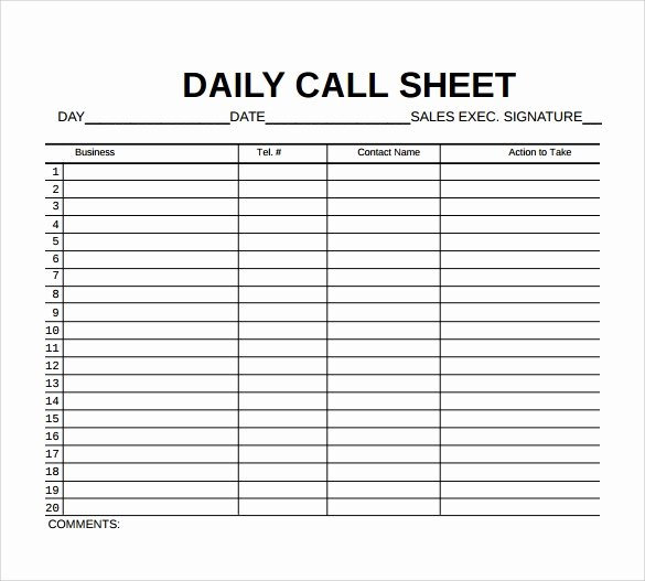 Daily Call Log Template Beautiful 9 Sample Call Sheet Templates