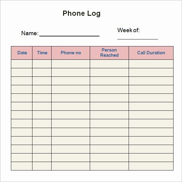 Daily Call Log Template Beautiful Phone Call Log Templates Bizoptimizer