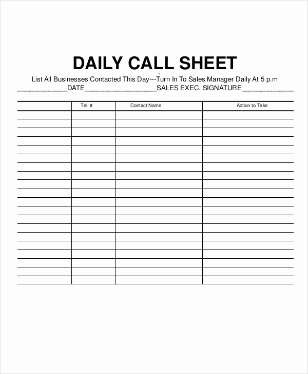 call log sheet templates