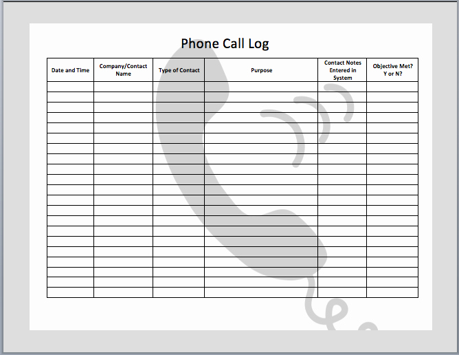 Daily Call Log Template Fresh 7 Best Of Free Printable Call Log Template Free