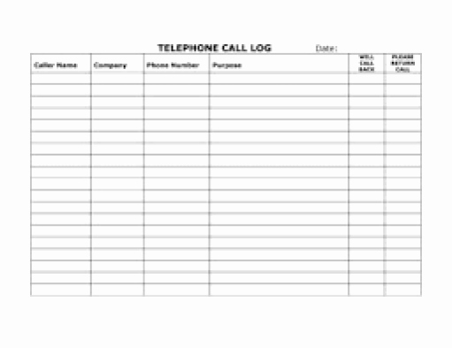 Daily Call Log Template Inspirational top 5 Resources to Get Free Call Log Templates Word