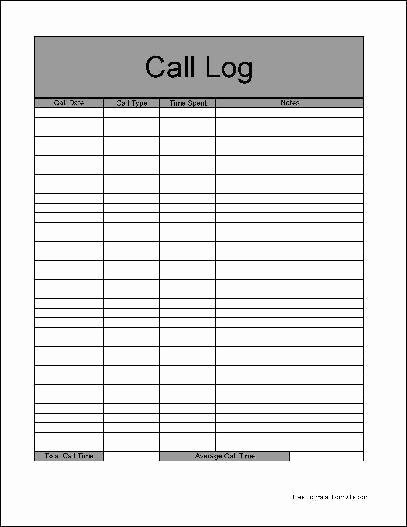 Daily Call Log Template Lovely 4 Sales Call Log Excel Templates Excel Xlts