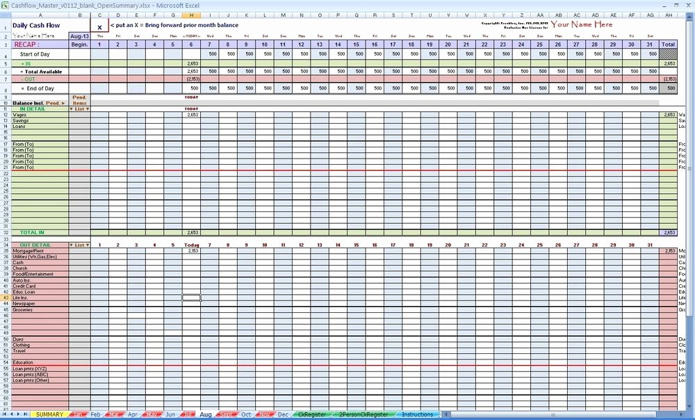 Daily Cash Flow Template Elegant Daily Cash Flow Spreadsheet