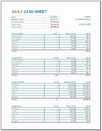 Daily Cash Report Template Lovely Daily Cash Sheet Template for Ms Excel