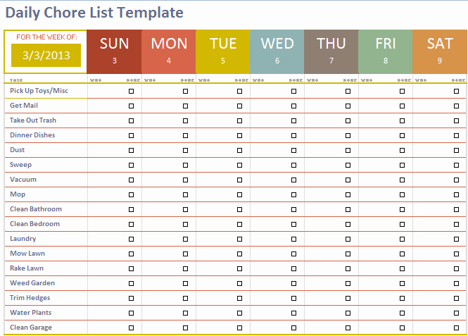 Daily Chore Chart Template Awesome Free Adult Content Filter