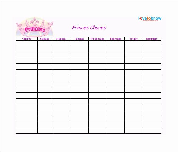 Daily Chore Chart Template Awesome Weekly Chore Chart Template 24 Free Word Excel Pdf