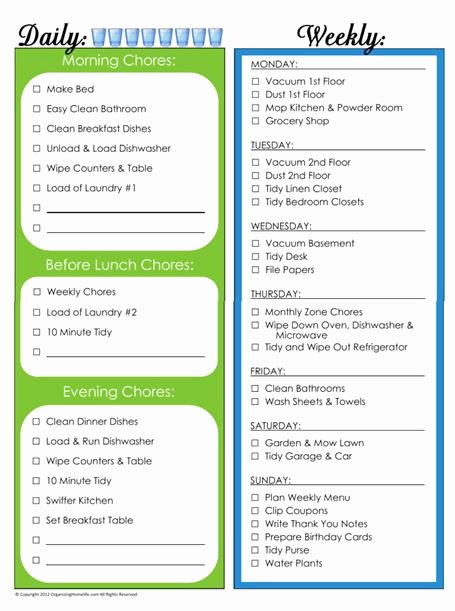 Daily Chore Chart Template Beautiful Daily & Weekly Chore Schedule Maybe for the Summer Made