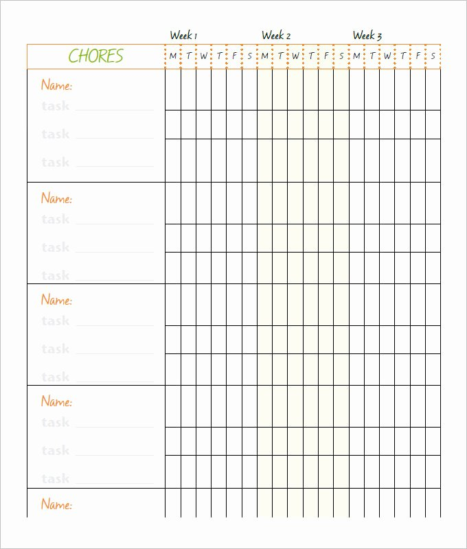 Daily Chore Chart Template Elegant 10 Family Chore Chart Templates Pdf Doc Excel