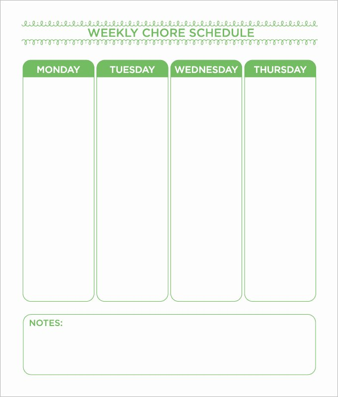 Daily Chore Chart Template Elegant Chore Chart Template 6 Free Pdf Word Documents Download