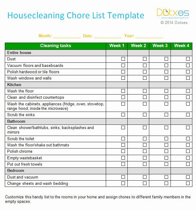 Daily Chore Chart Template Elegant House Cleaning Chore List Template Weekly Dotxes