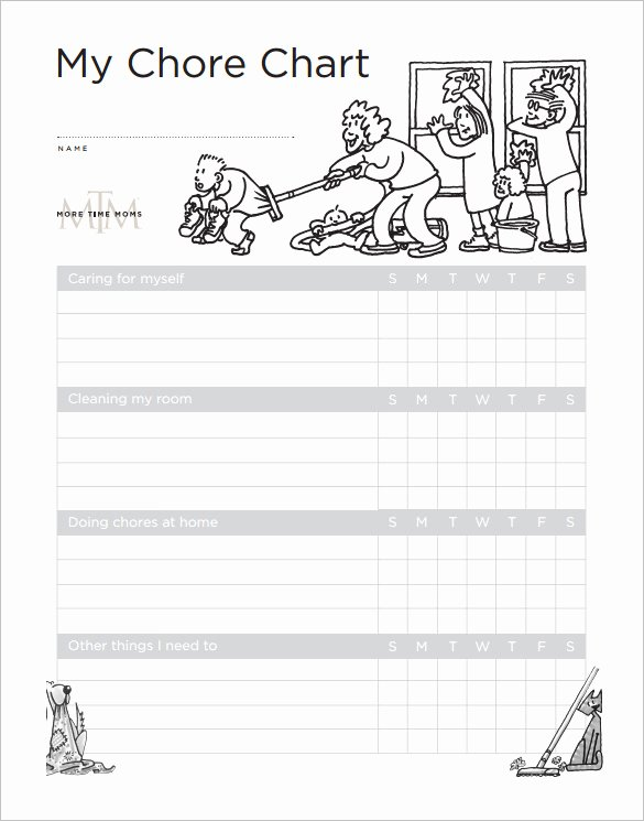 Daily Chore Chart Template Elegant Weekly Chore Chart Template 24 Free Word Excel Pdf