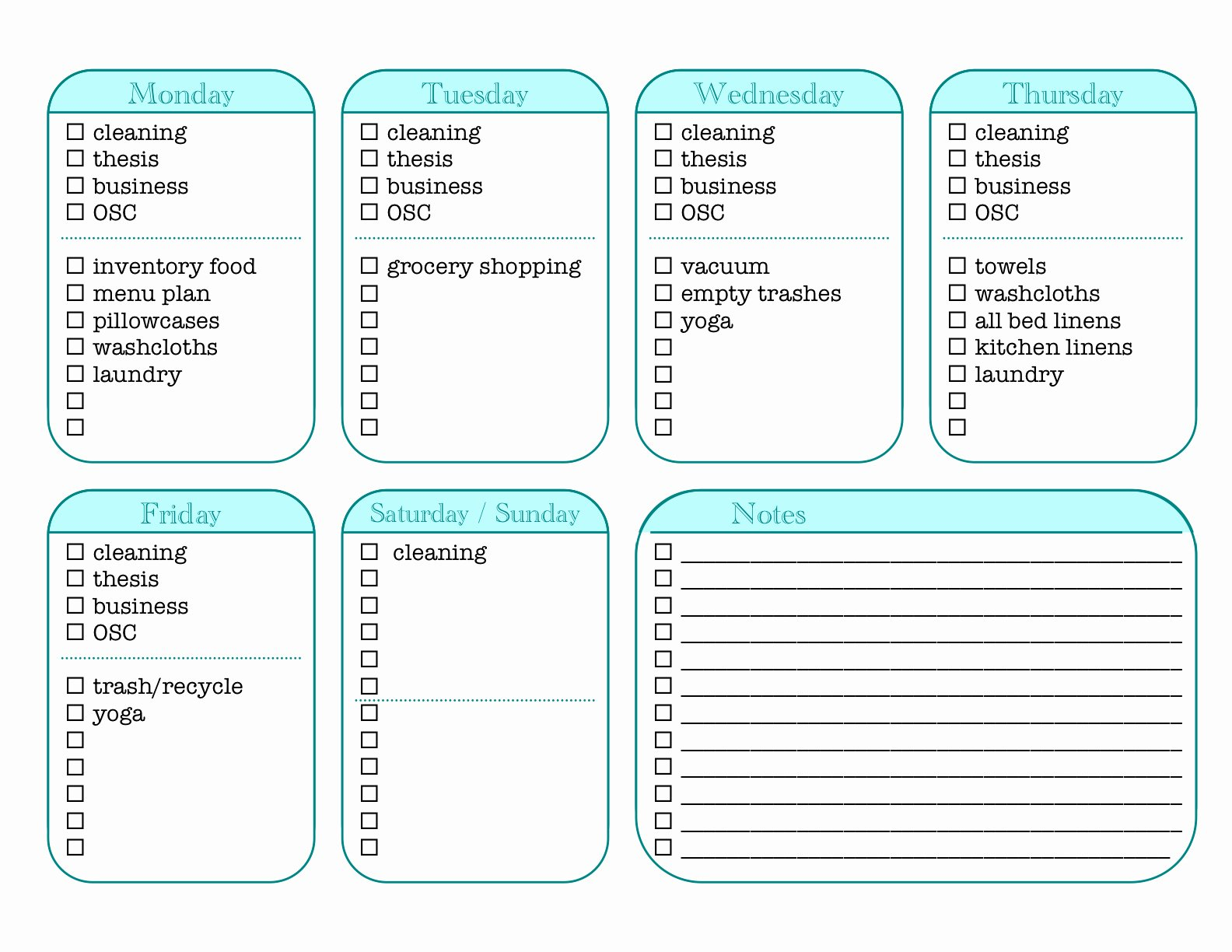 Daily Chore Chart Template Fresh Sk Studios Homemaking Weekly Chore Tracker