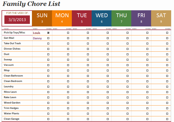 Daily Chore Chart Template Fresh the Family Chore List Template Will Help You Manage the
