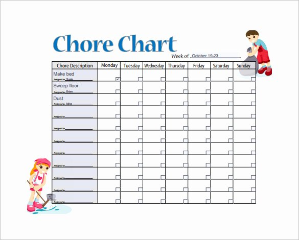 Daily Chore Chart Template Luxury 11 Sample Weekly Chore Chart Template Free Sample