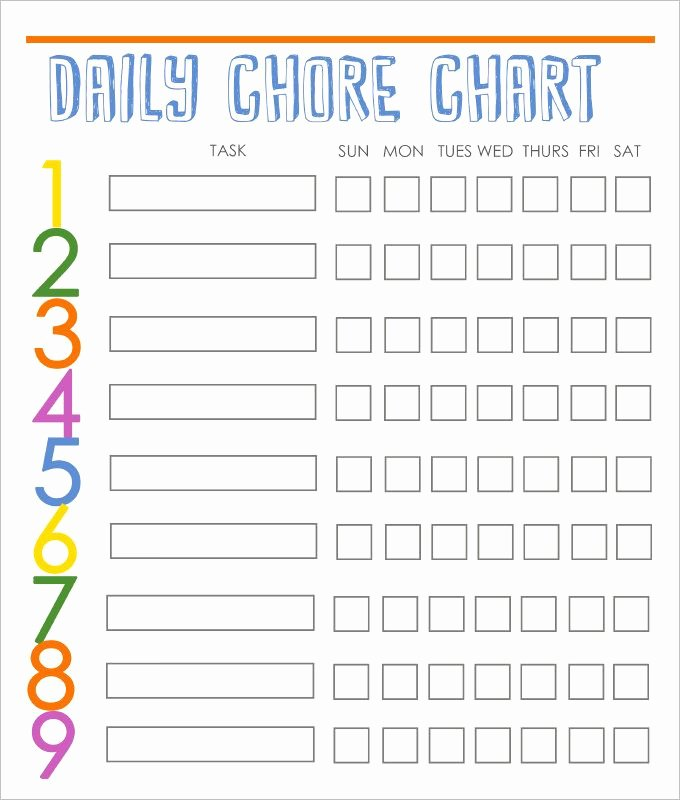 Daily Chore Chart Template Luxury Daily Behavior Chart Template Unique Chore Charts