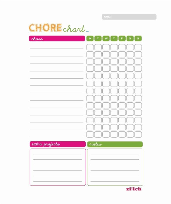 Daily Chore Chart Template Luxury Weekly Chore Chart Template 11 Free Word Excel Pdf