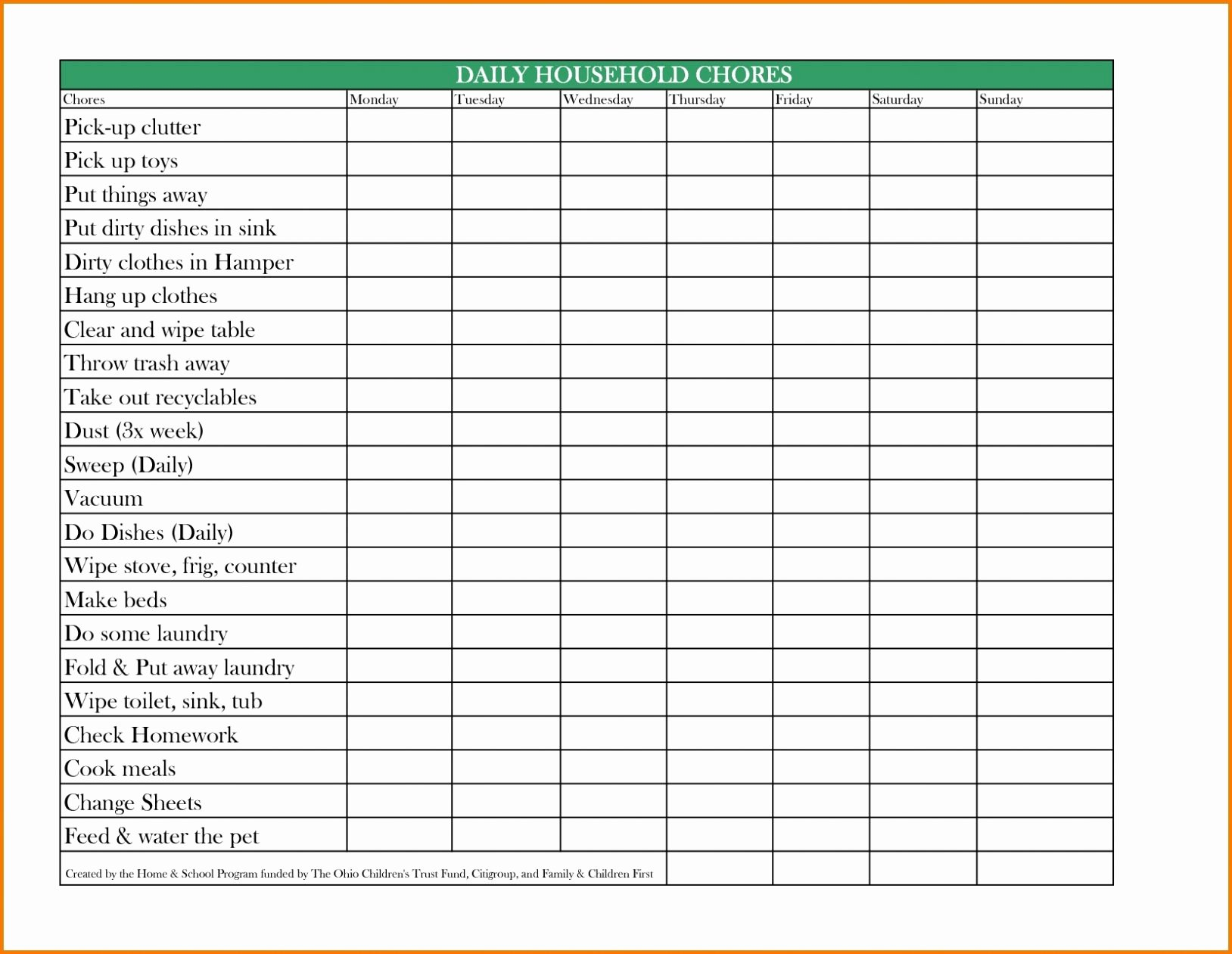 Daily Chore Chart Template Unique Free Printable Daily Weekly Monthly Chore Chart Template