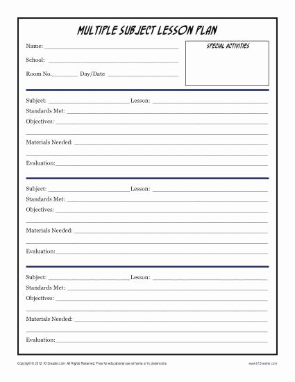 Daily Lesson Plan Template Unique Daily Multi Subject Lesson Plan Template Elementary