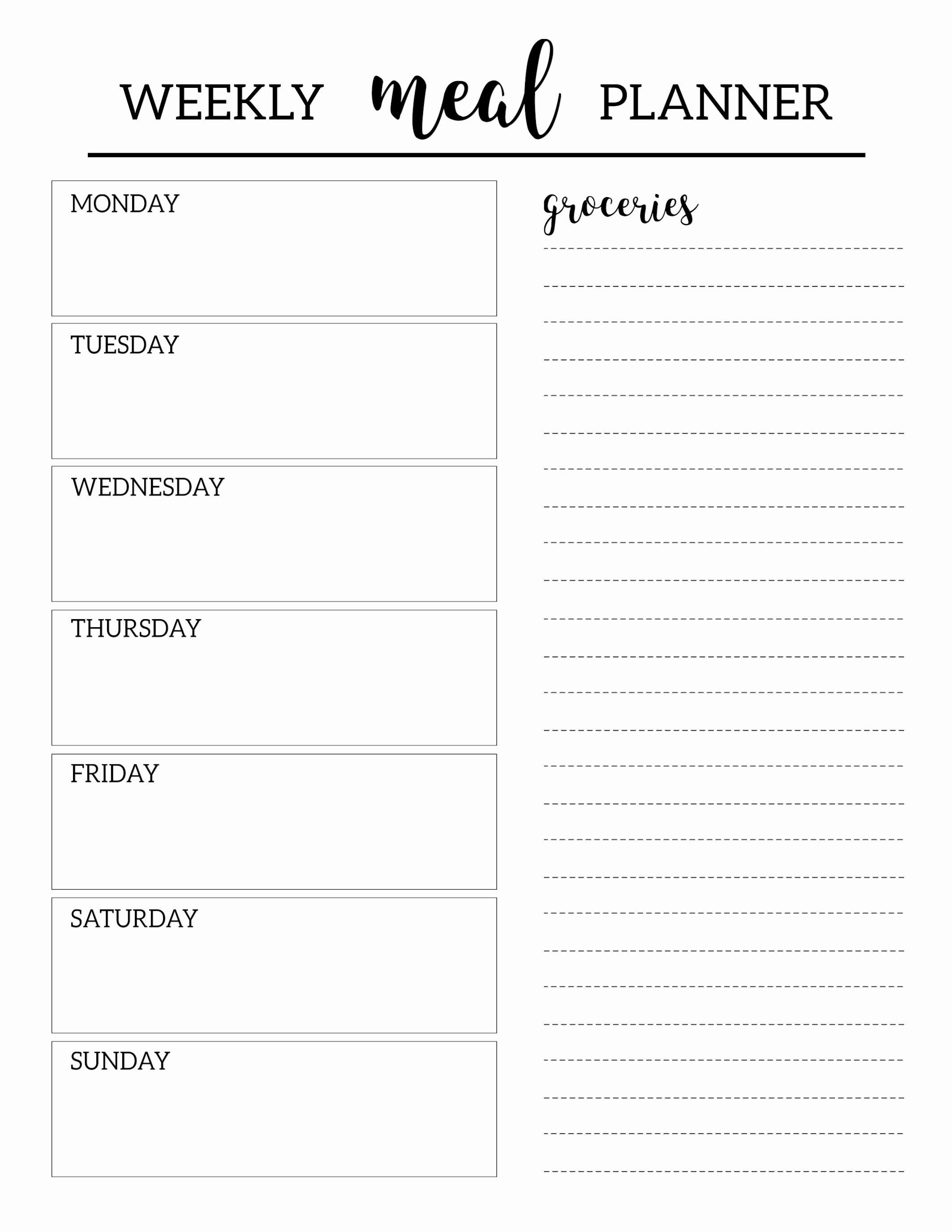 Daily Meal Plan Template Awesome Free Printable Meal Planner Template Paper Trail Design