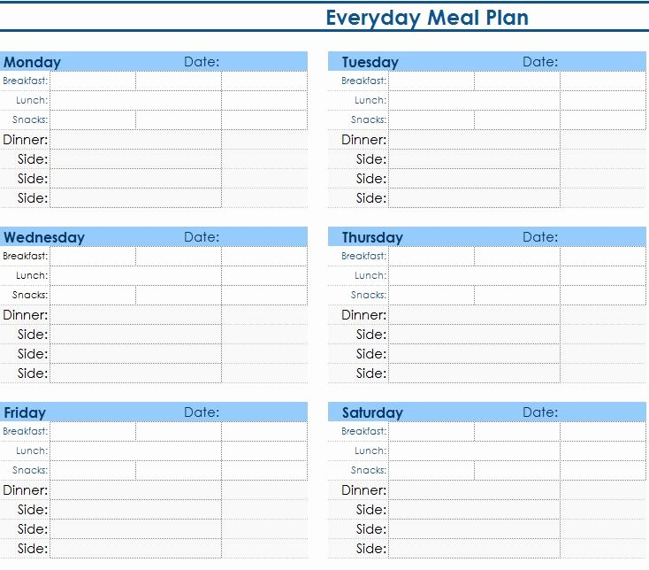 Daily Meal Plan Template Beautiful Daily Meal Planner My Excel Templates