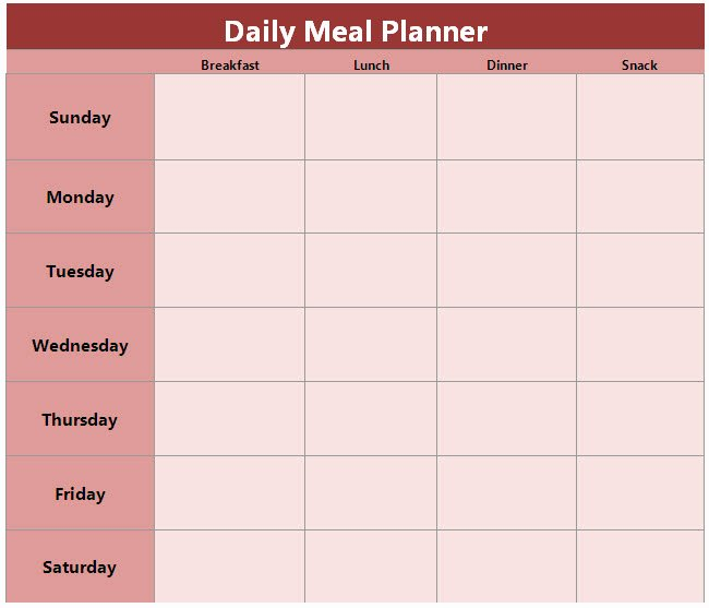 Daily Meal Plan Template Best Of Food and Family