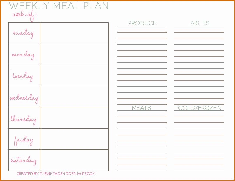 Daily Meal Plan Template Elegant 5 Daily Meal Plan Template