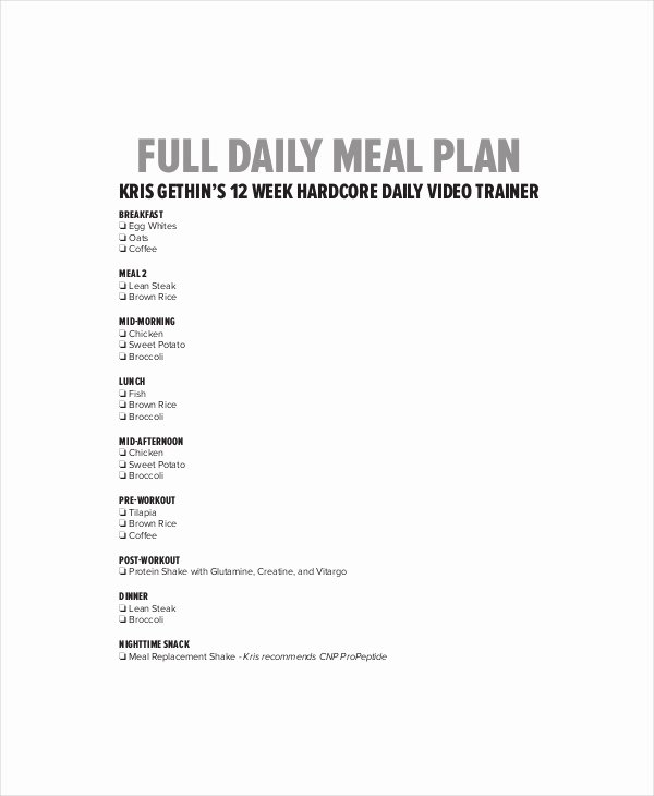 Daily Meal Plan Template Lovely Daily Menu Planner Template 6 Free Pdf Documents