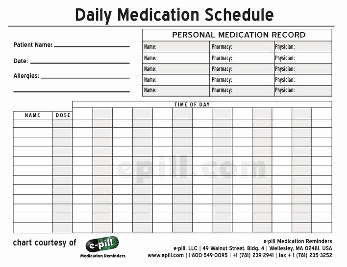 Daily Medication Schedule Template Beautiful Download Free Personal Daily Medication Schedule Template