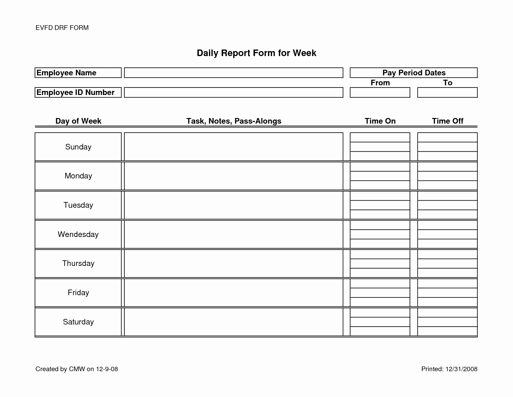 Daily Report Template Word Awesome Weekly Work Report Template Portablegasgrillweber