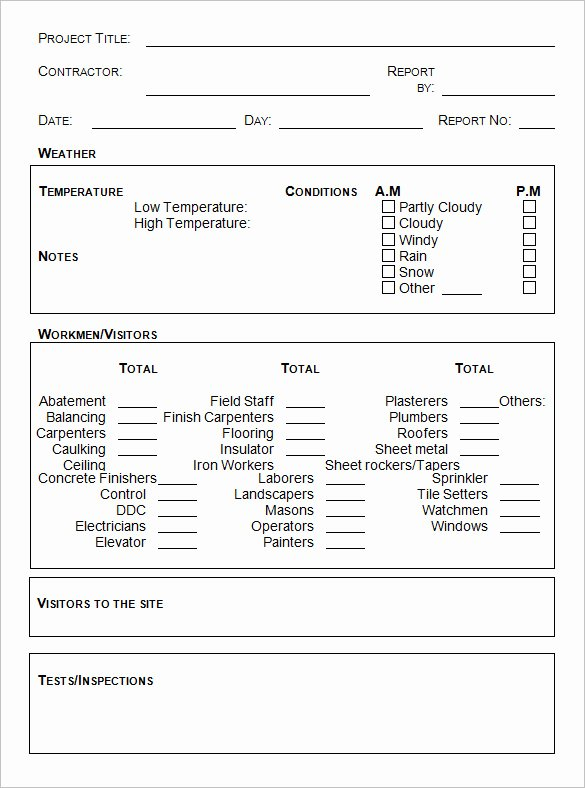 Daily Report Template Word Best Of Daily Construction Report Template – 25 Free Word Pdf
