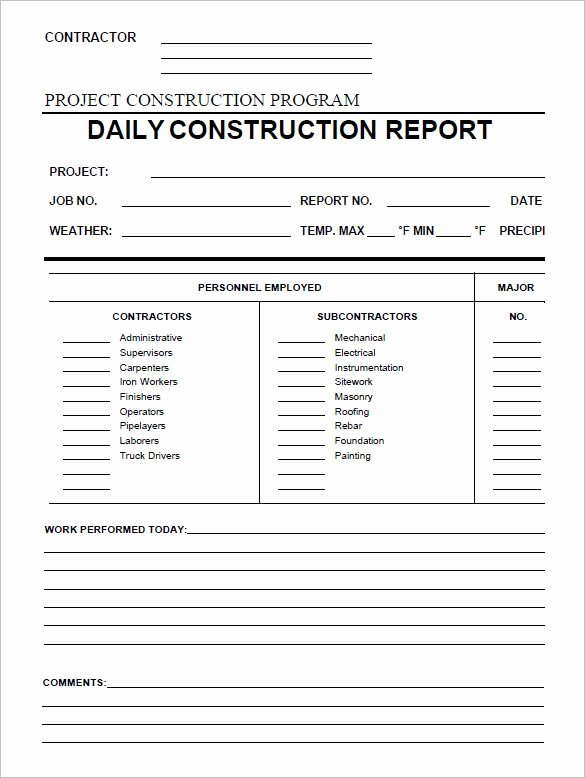 Daily Report Template Word Unique Daily Construction Report Template 25 Free Word Pdf