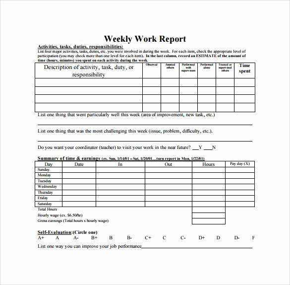 Daily Status Report Template Lovely 22 Sample Weekly Report Templates Docs Pdf Word Pages