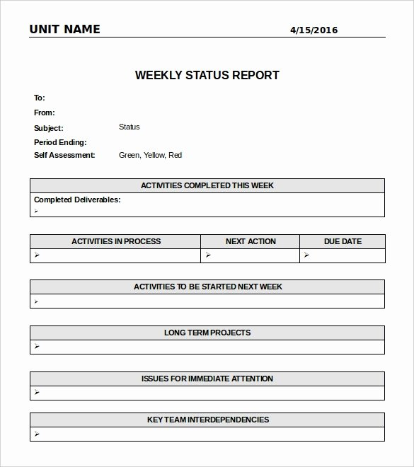 Daily Status Report Template Luxury Weekly Report Template