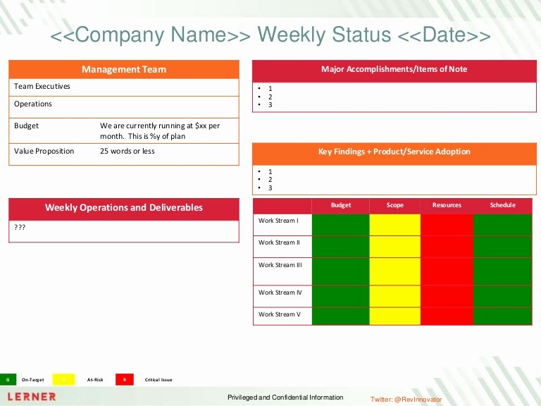 Daily Status Report Template New Executive Status Report Template