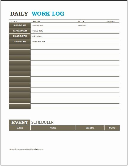 Daily Work Log Template Best Of 3 Best Daily Activity Log Templates