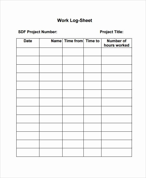 Daily Work Log Template Lovely Work Log Template – 7 Free Word Excel Pdf Documents