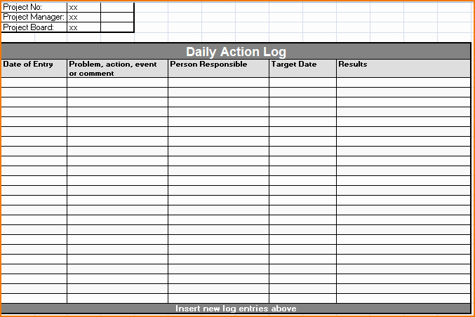 Daily Work Log Template New 5 Daily Work Log Template